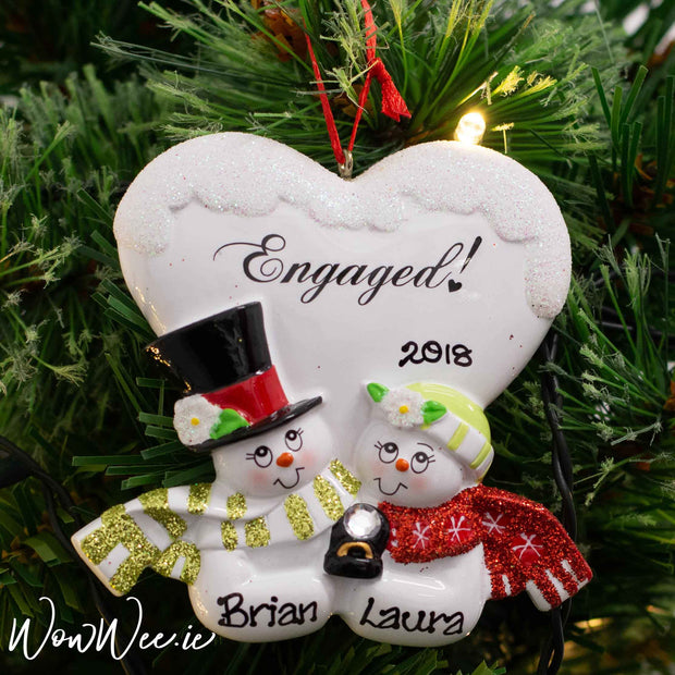 Personalised Christmas Ornament - Engaged Snowman Couple - Order Now, Dispatched from October 15th