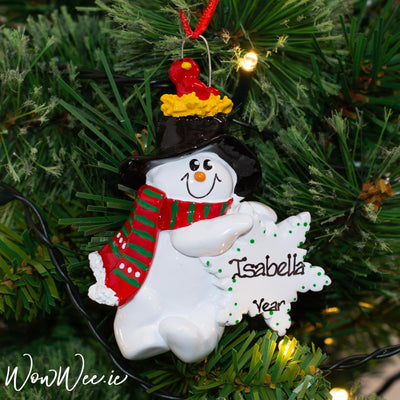 Personalised Christmas Decorations - Birdnest Snowman
