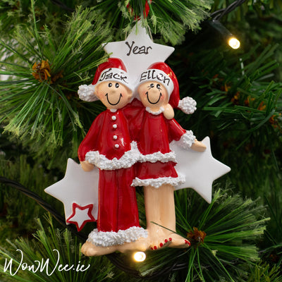 Personalised Christmas Ornament - PJ Couple | Personalised Christmas Tree Decorations For Couples | Personalised Christmas Ornaments Ireland | Personalised Christmas Tree Decorations | WowWee.ie