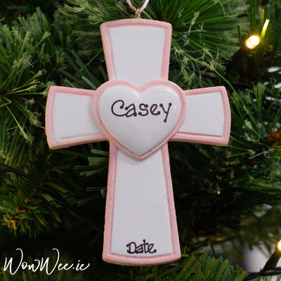 Personalised Occasion Ornament - Christening/ Communion Pink Cross