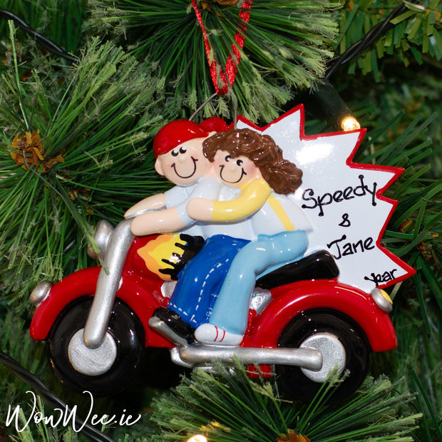 Personalised Christmas Ornament - Motorbike Couple