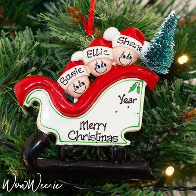 Personalised Christmas Ornament - Sleigh Family of 3 with Tree