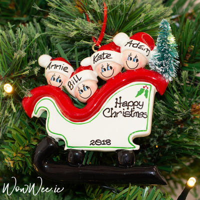 Personalised Christmas Ornament - Sleigh Family of 4 with Tree