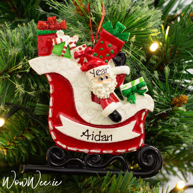 Every child loves Santa and this ornament is the perfect ornament for any child who is getting excited about Santa coming on his sleigh with all the presents