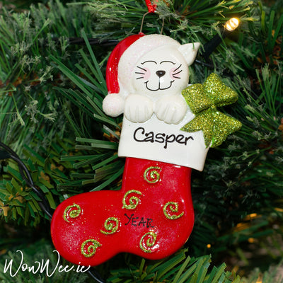 Personalised Christmas Ornament - Cat in Stocking