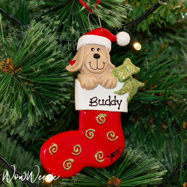 Personalised Christmas Ornament - Dog in Stocking