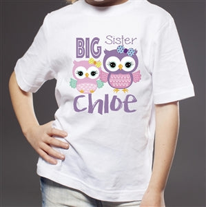 Personalised Big Sister T Shirt - Owls