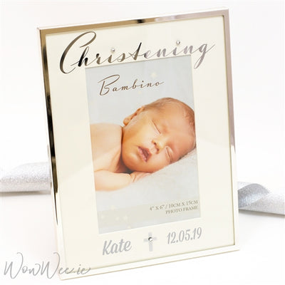 Personalised Christening Frame - Silver & Sparkling