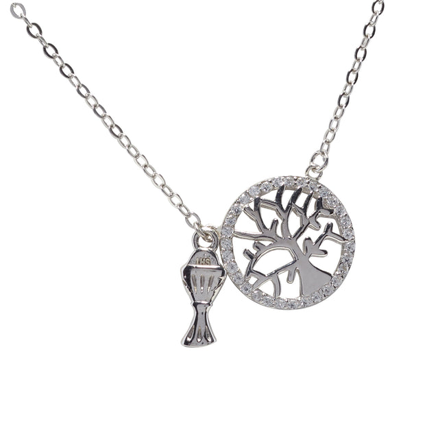 Silver Tree of Life Communion Necklace for Little Girls