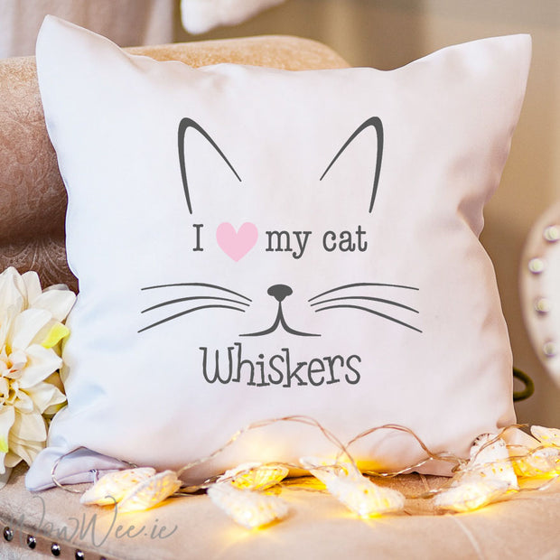 Personalised Cat Cushion - Cat Whiskers - WowWee.ie Personalised Gifts