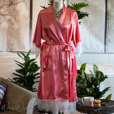 Personalised Lace & Satin Robe - Coral Island - Luxury Gift