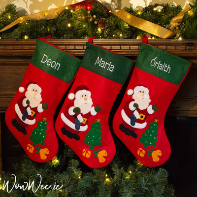 Personalised Felt Christmas Stocking - Santa & Christmas Tree - back in stock mid October