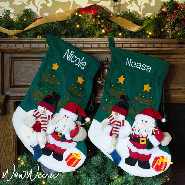 Personalised Giant Green Christmas Stocking/Sack - Santa and Snowman