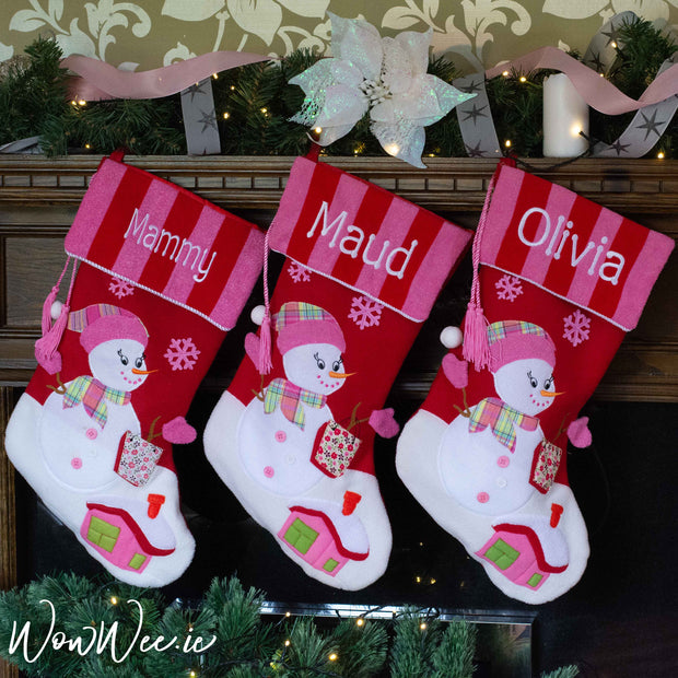 Personalised Christmas Stocking - Luxury Crimson & Fuchsia