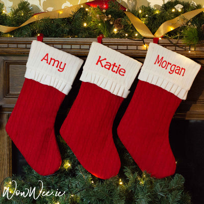 Personalised Christmas Stocking - Traditional Knitted Quality Sock - Back in stock mid October