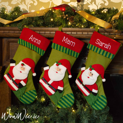 Personalised Christmas Stocking - Cozy 3D Santa