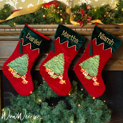 Personalised Velvet Christmas Stocking - Luxurious Tree and Gifts