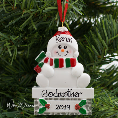 Personalised Christmas Decorations - Snowman on Mantle