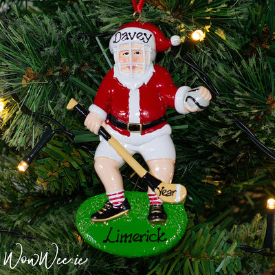 Personalised Hurling Christmas Ornament - Santa The Hurler - Limited Edition - WowWee.ie Personalised Gifts