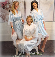 Personalised Delicate Lace & Satin Bridal Robes - Ice Blue Bridal Party Set of 3+