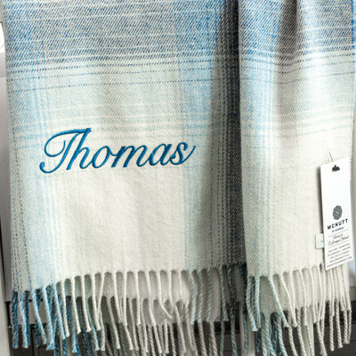 Personalised Baby Blanket for Boys - Little Boy Blue by McNutt of Donegal