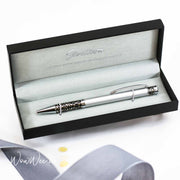 Personalised Stratton Ball Point Pen Two Tone Silver Etched Motif Design