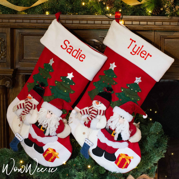 Personalised Christmas Stockings and Santa Sacks embroidered just for you with love and care by WowWee.ie. Our giant red Santa and Snowman Stocking is a popular choice for children and grown ups alike.