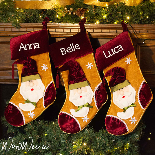 Here at WowWee.ie we embroider and package each and every order for Personalised Christmas Stocking as if they were our own. There is so much magic in seeing your name on one of our Luxury Velvet Wine & Gold Stockings.