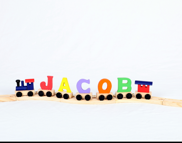 Personalised Wooden Letter Dinosaur Train for Boys - with Track - WowWee.ie