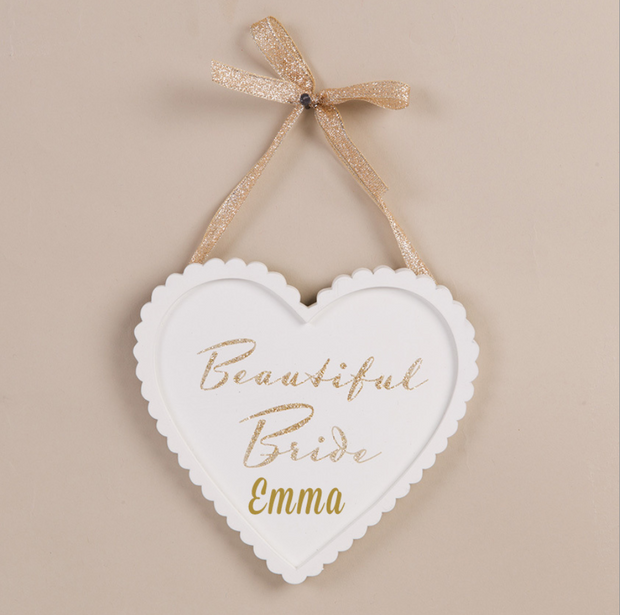Personalised Heart Shaped Wooden Sign - Beautiful Bride