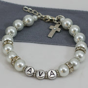 Glass Pearl - Personalised Holy Communion Bracelet