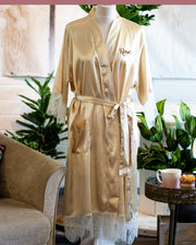 Personalised Lace & Satin Robe - Vintage Gold