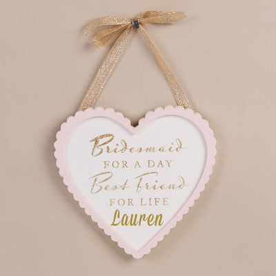 Personalised Heart Shaped Wooden Sign - Bridesmaid