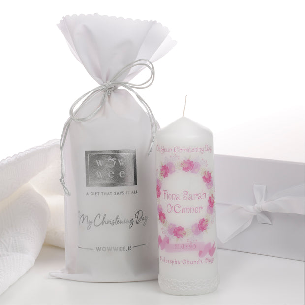 Personalised Christening Candle for Girls - Faith & Floral - WowWee.ie Personalised Gifts