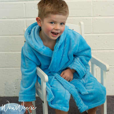 Personalised Hooded Bathrobe for Children - Blue