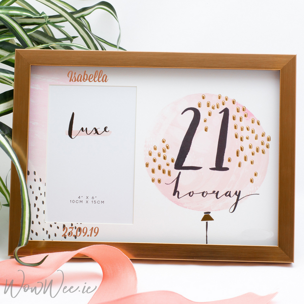 Personalised 21st Birthday Photo Frame - Rose Gold