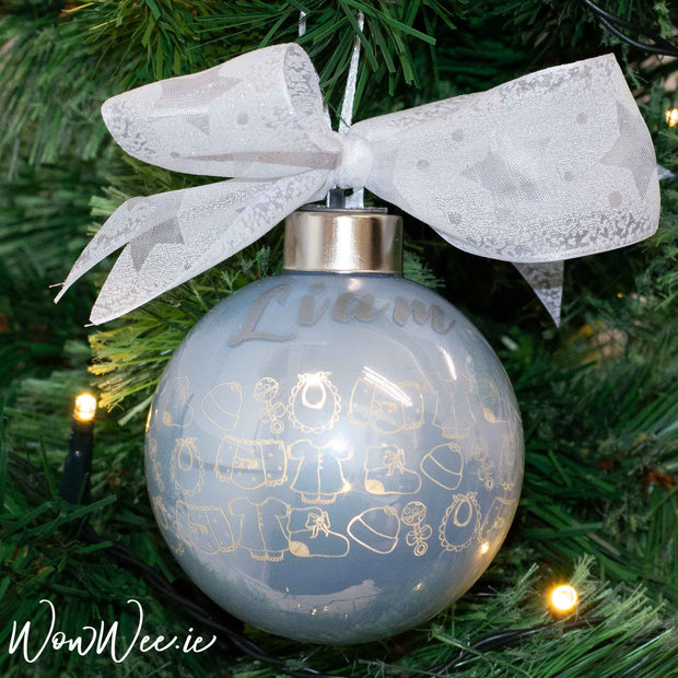 Personalised Luxury Christmas Light Up Bauble - Baby Boy Bibs & Bobs - 8cm