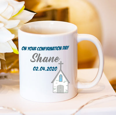 Personalised Confirmation Day Mug for Boys