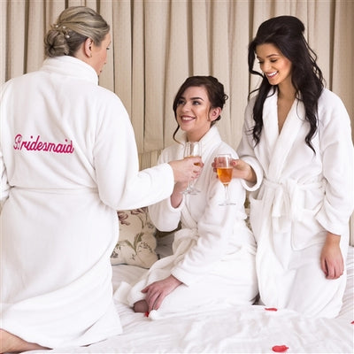 Personalised White Fluffy Robes - Bridal Party Set of 3+