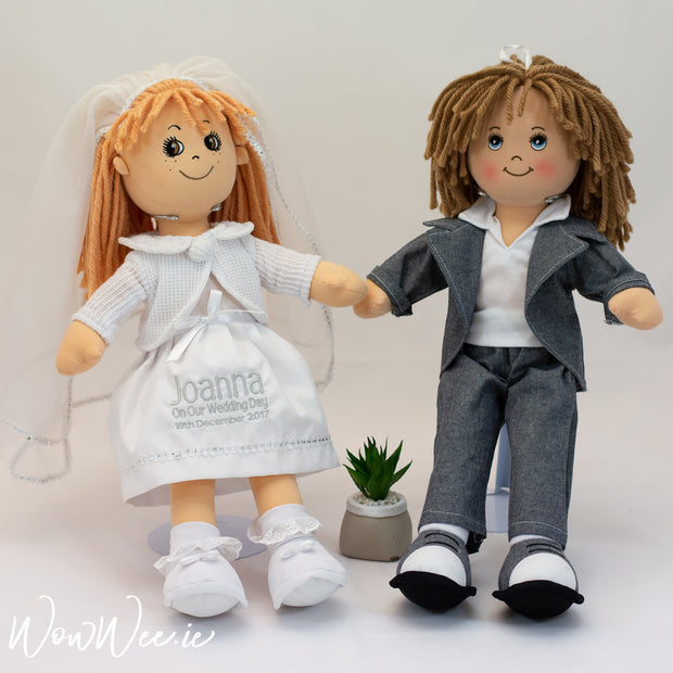 Personalised Rag Doll Set - Bride and Groom