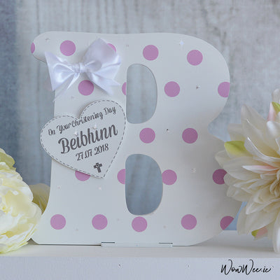 Personalised Decorative Wooden Letter - 'On Your Christening Day' - New Design for Girls!