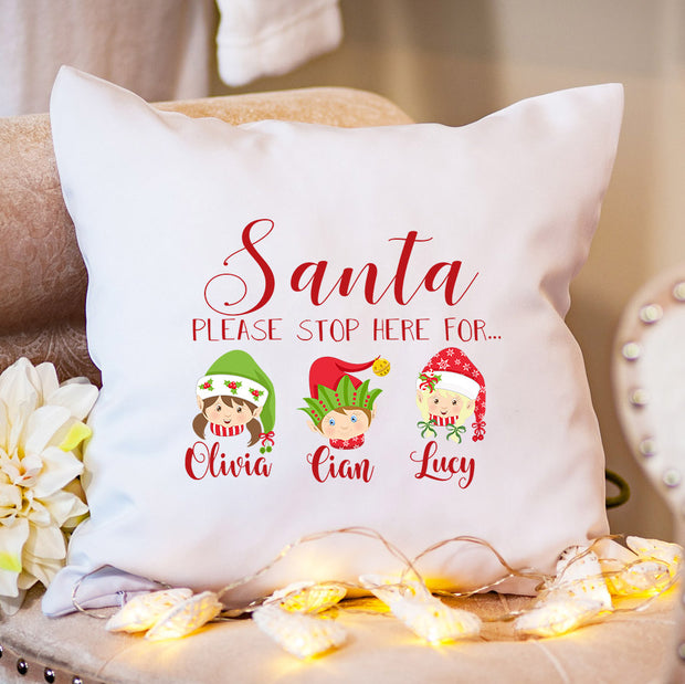 Personalised Christmas Cushion - Santa Stop Here