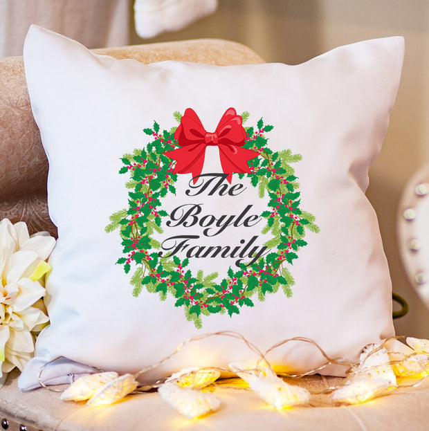 Personalised Christmas Cushion - Christmas Wreath
