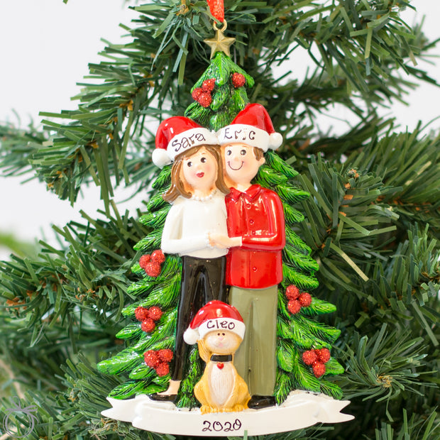 Personalised Christmas Ornament for Couple - Christmas Tree & Cat