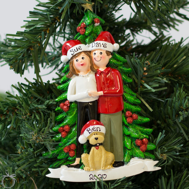 Personalised Christmas Ornament for Couple - Christmas Tree & Dog