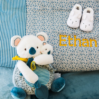 Personalised Signature DouDou Gift Set - Patchwork Quilt, Plush Toy & Baby Suede Shoes