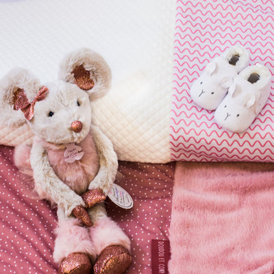 Personalised Signature DouDou Gift Set for Girls- Patchwork Quilt, Plush Toy & Suede Shoes