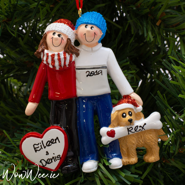 Personalised Christmas Ornament - Couple with Dog | Personalised Christmas Tree Decorations | Couple Christmas Ornaments | WowWee.ie