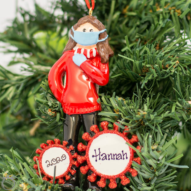 Personalised Christmas Ornament - Covid 19 - Girl - WowWee.ie Personalised Gifts