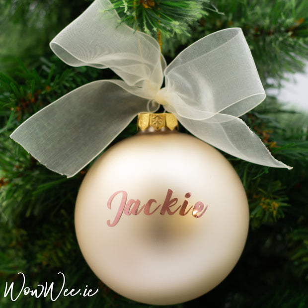 Personalised Luxury Christmas Bauble - Plush Pearl - 10cm